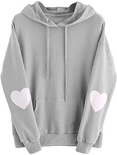 Womens Love Heart Print Long Sleeve Casual Pocket Drawstring Hoodie Jumper Sweatshirt Pullover Tops