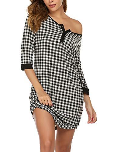Ekouaer Women's Nightgown 3/4 Sleeves Sleepshirt Button Down Sleepwear Comfy Sleep Tee Nightshirt