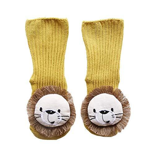 CyFe Calcetines de piso para bebé con dibujos animados León Calcetines divertidos antideslizantes largos para niños y niñas, otoño e invierno, para interior
