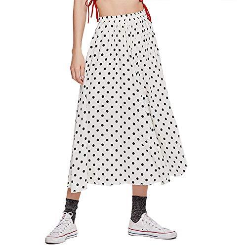 MUCOO Falda midi plisada con bolsillos y cintura elástica floral con lunares Blanco Z-blanco 38