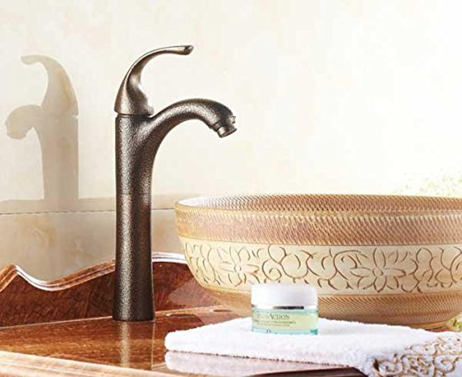PLYY Faucet single type,bathroom vanity lavatory faucet,brass European-style vintage kitchen sink faucet,hot and cold faucet