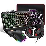 HAVIT Gaming Tastatur {DE Layout} & Maus & Headset & Mauspad Combo Set 4 in 1 für PC / Computer / Laptop / XBOX / PS4 / Tablets und mehr, Schwarz