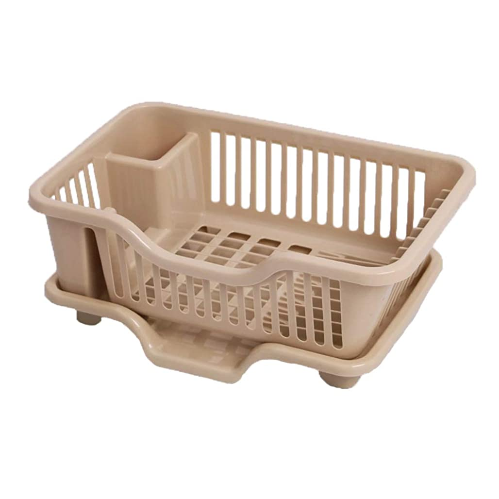 強化のみなめらかなMHO 食器用皿 水切りラック プラスチック製キッチンカトラリー収納ボックス カウンター用 ブラウン 546-606-455
