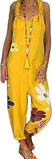 Yeirui Women's Cotton Summer Backless Pants Linen Sleeveless Jumpsuit Romper Overalls