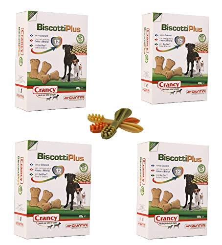 crancy 4 scatoli Biscotti Plus Giuntini da 500 g per Cani Piu Omaggio 3 Snack per la Pulizia dei Denti vegetali