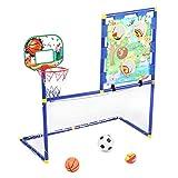 T best Juguete de Baloncesto Combinado 3 en 1, Mini Niños Canasta Baloncesto Exterior Portería de fútbol Estante de Pelota Juguete de Ejercicio para Múltiples Niños