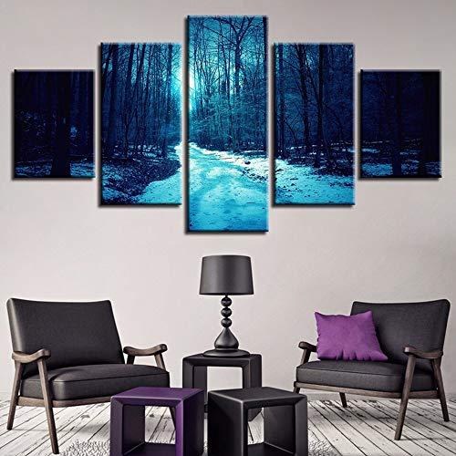 mmwin Arte Modular HD Impreso Lienzo Cartel 5 Panel Bosque Paisaje Decoración para el hogar Sala de Estar Pared Imágenes d