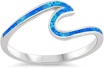 Blue Simulated Opal Thin Wave Ocean Boho Ring Sterling Silver Midi Band Sizes 4-12