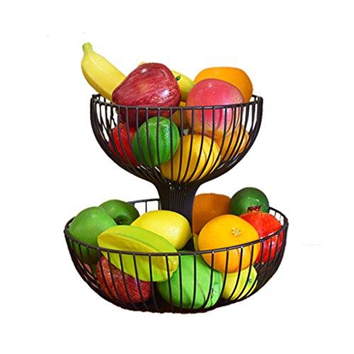 RSWLY Cesta de Fruta de Hierro Forjado de 2 Capas, Moda Placa de Fruta Seca de Rack de Almacenamiento de Gran Capacidad Creativa, Negro (Size : 32 * 32 * 29)