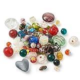 Cheriswelry Lampwork Cuentas de cristal de Murano, perlas sueltas de arena dorada, corazón redondo ovalado para joyería, pulsera, agujero: 1-2 mm