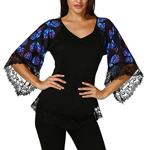 HGWXX7 Womens Fashion Lace Butterfly Print Half Sleeve Cotton Top T-Shirt Blouse (XL, Black)