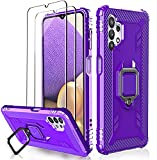 Milomdoi Case for Samsung Galaxy A32 5G with 2 Pack Screen Protector, [Not Fit 4G] [Military Grade Protective ] Heavy Duty 360°Finger Ring Holder Kickstand Cover for Samsung A32 5G Phone Case-Purple