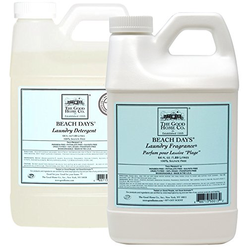 Natural Liquid Laundry Detergent Refill, 64-Load (64 fl. Oz) + Liquid Laundry Fabric Softener 64 Oz. Refill - The Good Home, Scent - Beach Days