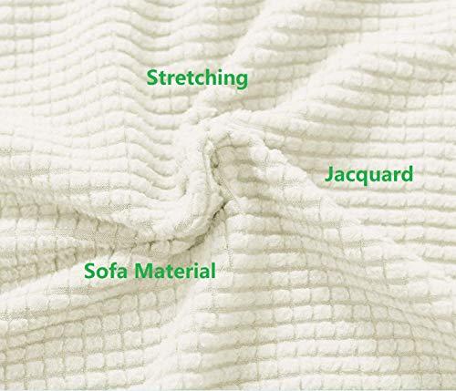 E EBETA Copridivano 2 Posti Elasicizzato Antiscivolo Fodera Protettiva per Divano, Jacquard Copridivano (Bianco Avorio, 145-185 cm)