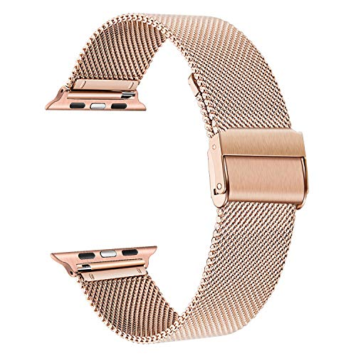 TRUMiRR Correa de Reloj Compatible con 40mm 38mm Apple Watch Hombres Mujeres, Correa de Reloj de Acero Inoxidable Pulsera de Malla Tejida con Pulsera para iWatch Apple Watch Series 5 4 3 2 1