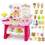 Juguete Multifuncional Supermercado Cajero Helado Carrito de compras Mostrador de ventas Juguetes de cocina Regalos para niños y niñas Herramienta de aprendizaje Juego de cocina para niños (Color: ro