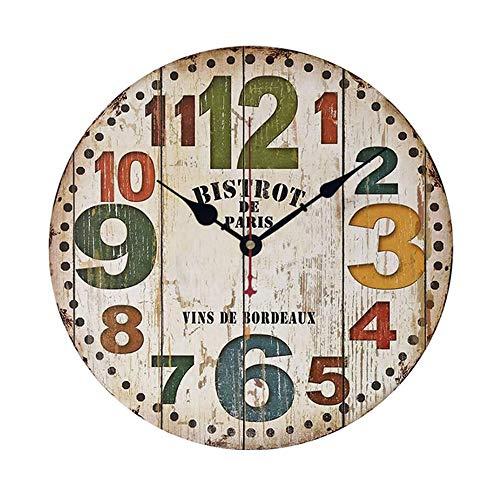 YALI YL Wanduhr Wohnzimmer Uhr stumm Holzwand Uhr 12 Zoll Holzschale Schlafzimmer Küche Wanduhr 1 AA Batterie Precision
