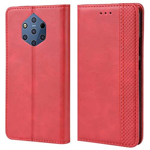 HualuBro Handyhülle für Nokia 9 PureView Hülle, Retro Leder Brieftasche Tasche Schutzhülle Handytasche LederHülle Flip Hülle Cover für Nokia 9 PureView - Rot