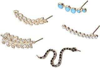 Black Snake Ear Cuff Climber Crawler Wrap Earrings 5 piece Set - Leaf Crescent Earrings Jewelry for Women