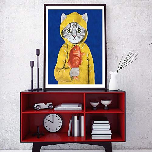 KWzEQ Carteles e Impresiones de Peces Gato de Dibujos Animados Pintor de Conejo salón de Arte de Pared habitación de niños decoración del hogar,80X120cm,Pintura sin Marco