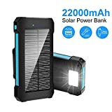 Solar Charger Power Bank 22000 mAh, Portable Solar Phone Charger Solar Panel External
