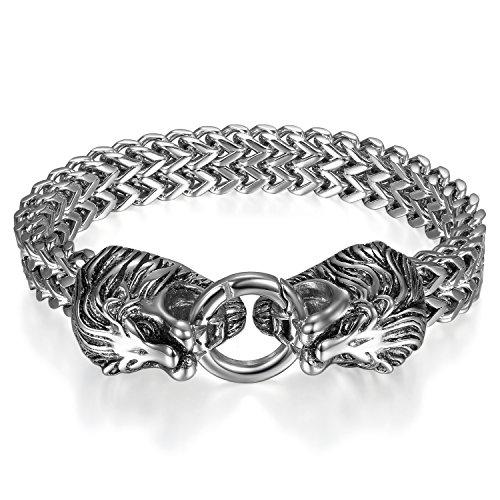 OIDEA Edelstahl Herren Armband Löwe Farbe Silber 12mm Breite Exquisit Drachen Weizenkette Motorradfahrer Armreif Armschmuck Armkette Handgelenk, 21cm