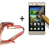 WoowCase   Flexible Gel Schutzhülle für [ Huawei G Play Mini - Huawei Honor 4C ] [ +1 Schutzglas ] Hartglas, Huawei G Play Mini - Huawei Honor 4C Hülle Case TPU Silikon in Rot