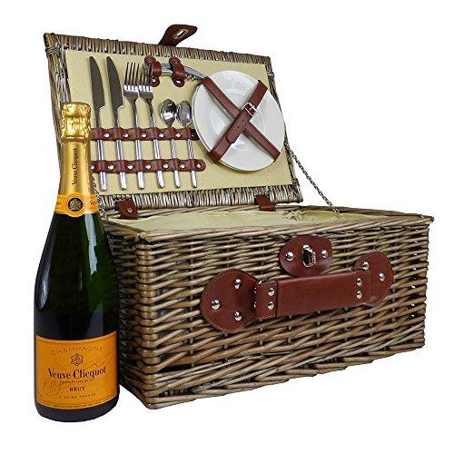 Weiden Picknickkorb Mit Veuve Clicquot Champagner Und Integrierter Kühltasche - Die Geschenk Idee Zur Hochzeit, Geburtstag, Jubiläum