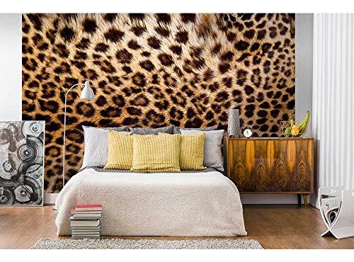 Vlies Fotobehang LUIPAARD HUID | Niet-Geweven Foto Mural | Wall Mural - Behang - Reusachtige Wandposter | Premium Kwaliteit - Gemaakt in de EU | 375 cm x 250 cm
