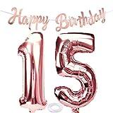 SNOWZAN Globo de 15 cumpleaños en oro rosa para niña, número 15, globo gigante de helio, número 15, globos con números grandes de 15 años, XXL, guirnalda de 32 pulgadas, número 15, para fiesta