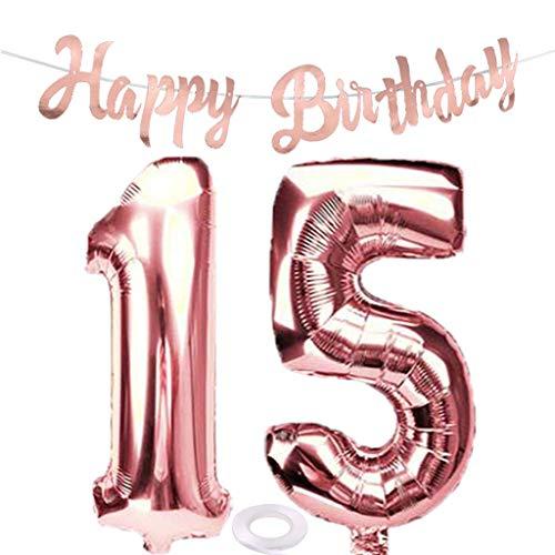 SNOWZAN Luftballon 15. Geburtstag Rosegold Mädchen Zahl 15 Riesen Folienballon Helium Nummer 15 Luftballon Große Zahlen 15 Jahre XXL 15. Happy Birthday Banner Girlande 32 Zoll Riese Zahl 15 für Party