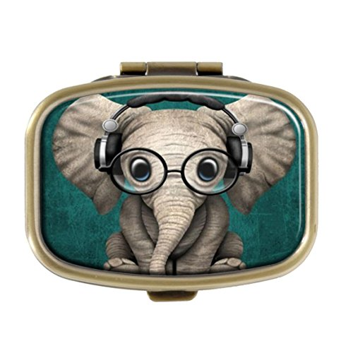 Cecillia Elephant Baby Wearing Glasses Pill Box Decorative Boxes Bronze Rectangular Pill Case Medicine Tablet Holder Wallet Organizer Case for Pocket or Purse