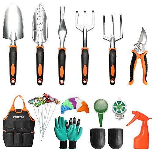 CHASSTOO Gartenwerkzeug Set, 14-teiliges Gartengeräte Set aus Aluminiumlegierung, Rostfrei Garten Tool Set mit Aufbewahrungstasche, Knieschoner Gartenschere Gartenhandschuhen Garten-Sprüher, Orange