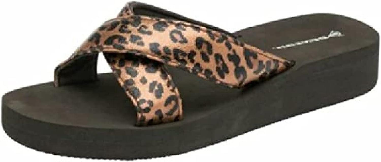 Dunlop Ladies Brown Beige Summer Sandals Flip Flops Casual New Wedge Toe Post