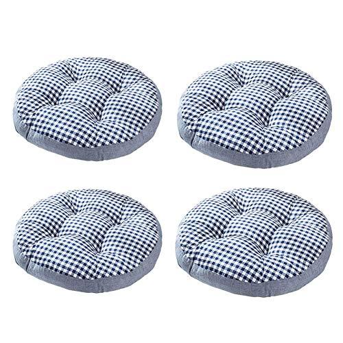 Wyxy Cojín de Asiento de Rayas Redondas, 4 Piezas Cojín para Silla de Mimbre para Patio Cojín para Interior y Exterior Sillón de algodón Silla de Oficina Cojín para Coche-Azul B
