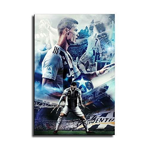 Supersport-Stars Cristiano Ronaldo Poster, Wandkunst, Leinwandbild, Fußball-Poster, Drucke, Kinder- und Jungenzimmer, Heimdekoration