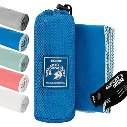 Backpacker's Journey Toallas de Microfibra en Todos los tamaños. La Toalla de Viaje es Ligera, de Secado rápido, Absorbente y antibacteriana (Azul S)