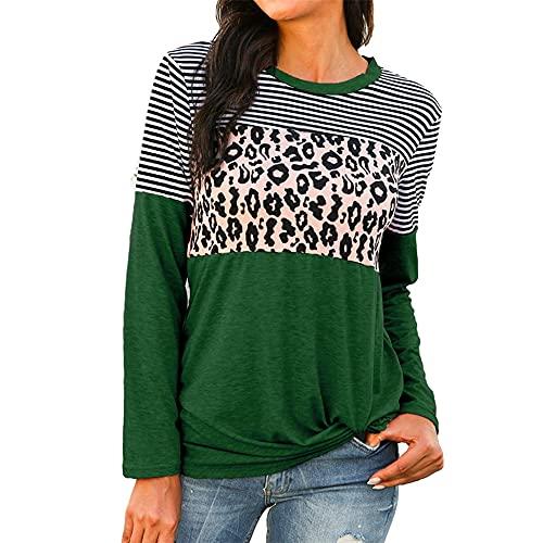 PRJN Camiseta de Manga Larga con Estampado de Leopardo de Costura de otoño e Invierno para Mujer Top de Cuello Redondo Suelta con Estampado Informal Blusa Sudadera Pullover de Talla Grande Slim Fit