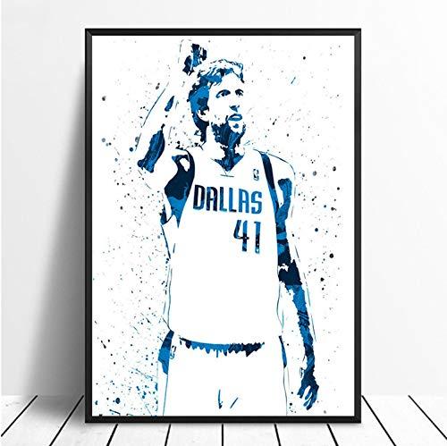 taoyuemaoyi Dirk Nowitzki Basketball Star Sport Leinwand Poster Wand Kunstdruck Kinder Dekor Mann Höhle Wohnkultur Wanddekor Leinwand Malerei 40 * 60 cm