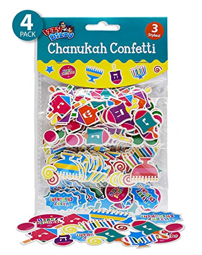 Izzy 'n' Dizzy Hanukkah Confetti - 4 Pack - 3 Styles Each: Menorahs, Dreidels and Happy Chanuka - Hanukkah Party Decorations and Supplies