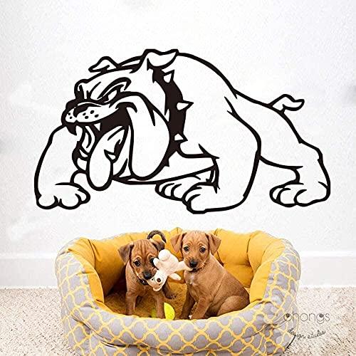 TJVXN Autoadhesivo de Vinilo Impermeable Etiqueta de la Pared de Dibujos Animados Bulldog inglés Etiqueta de la Pared Chica Dormitorio Mural Estudio Etiqueta de la Pared decoración del hogar 56X31Cm
