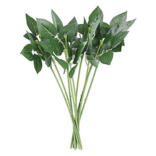Andifany 100Pcs Artificial Plastic Rose Flower Stems Fake Greenish Flower Branch for DIY Bouquets Wedding Party Decor