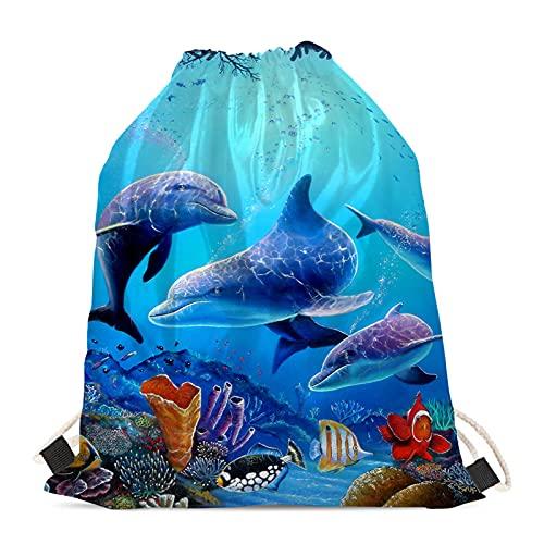 Showudesigns Niños deportes al aire libre gimnasio cordón mochila animal cincha saco natación PE bolsa mujeres niñas, Mar delfín de moda, Talla única, animal