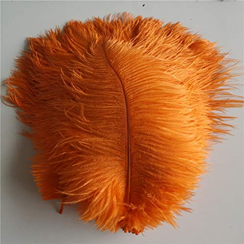 DFYYQ 25-30 cm 10pcs / Lote 10-12 Pulgadas de Plumas de Avestruz Suave Suave Pluma Pura Pluma Blanca para los Plumas de Avestruz decoración de la Fiesta de Bodas (Color : Orange)