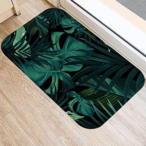 OPLJ Alfombra de Felpudo con patrón de Monstera de Cactus de Hoja de Palmera Tropical, Alfombra Antideslizante para el Suelo Interior A1 40x60cm