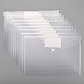 Sooez Plastic Envelopes Poly Envelopes, 20 Pack Clear Document Folders US Letter A4 Size File Envelopes with Label Pocket & Snap Button for School Home Work Office Organization, Clear