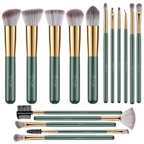 BESTOPE Makeup Brushes 16 PCs Makeup Brush Set Premium Synthetic Foundation Brush Blending Face Powder Blush Concealers Eye Shadows Make Up Brushes Kit (Green)