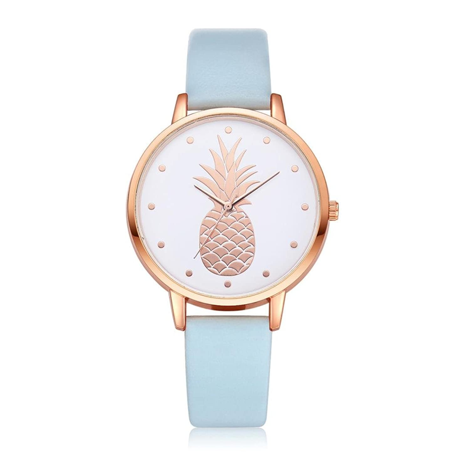 Swyss Women's Simple Fashion Watch Cute Pineapple Pattern Dial Leather Analog Quartz Wrist Watch Chic Sweet Style (G)