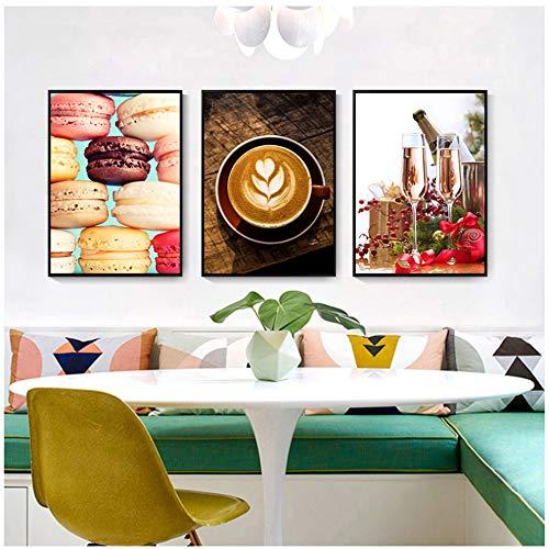 NIEMENGZHEN Druck auf Leinwand Leinwandbild Druck Kaffee Wohnkultur Gemüse Champagner Wandkunst Bild-50x70cm No Frame