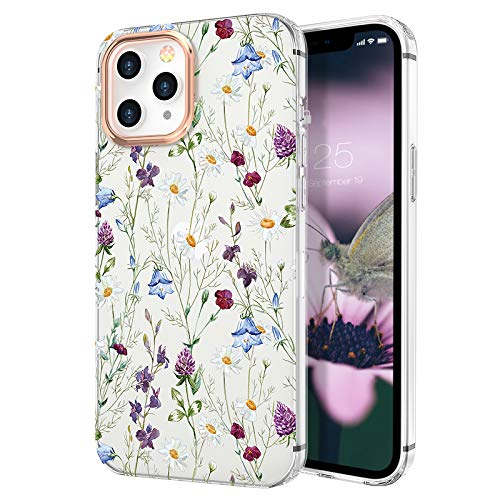 zelaxy Case Compatible with iPhone 12 / iPhone 12 Pro,Shockproof Protective Anti-Slip Slim Hard Shell Bumper Cute Floral Flower Case for iPhone 12 / iPhone 12 Pro 6.1 inch (Garden)